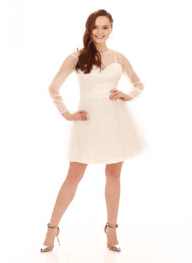 6ixty8ight Ekru Tül Glitterli Uzun Kollu Abiye Elbise Ekru
